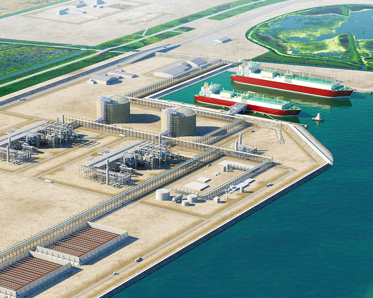 Rendering of the proposed Port Arthur LNG facility